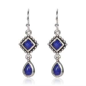 Silver & Blue Drop Hook Earrings NWT-